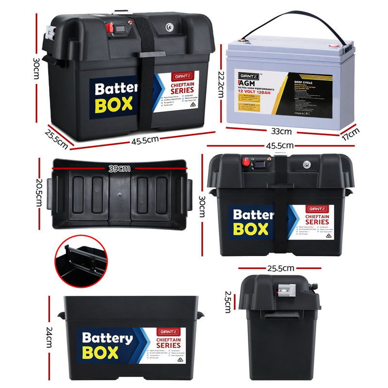 120Ah Deep Cycle AGM Battery & Battery Box - Factory Direct Oz