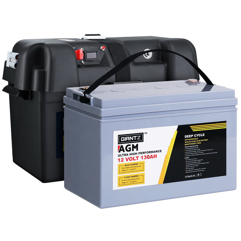 130Ah Deep Cycle AGM Battery & Battery Box - Factory Direct Oz