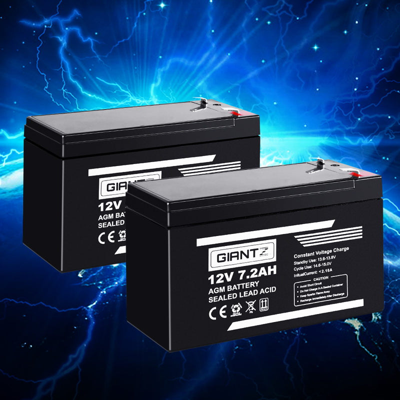 Giantz 2X 12V AGM 7.2Ah SLA Rechargeable Battery - Factory Direct Oz
