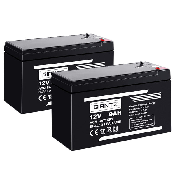 Giantz 2X 12V AGM 9Ah SLA Rechargeable Battery - Factory Direct Oz
