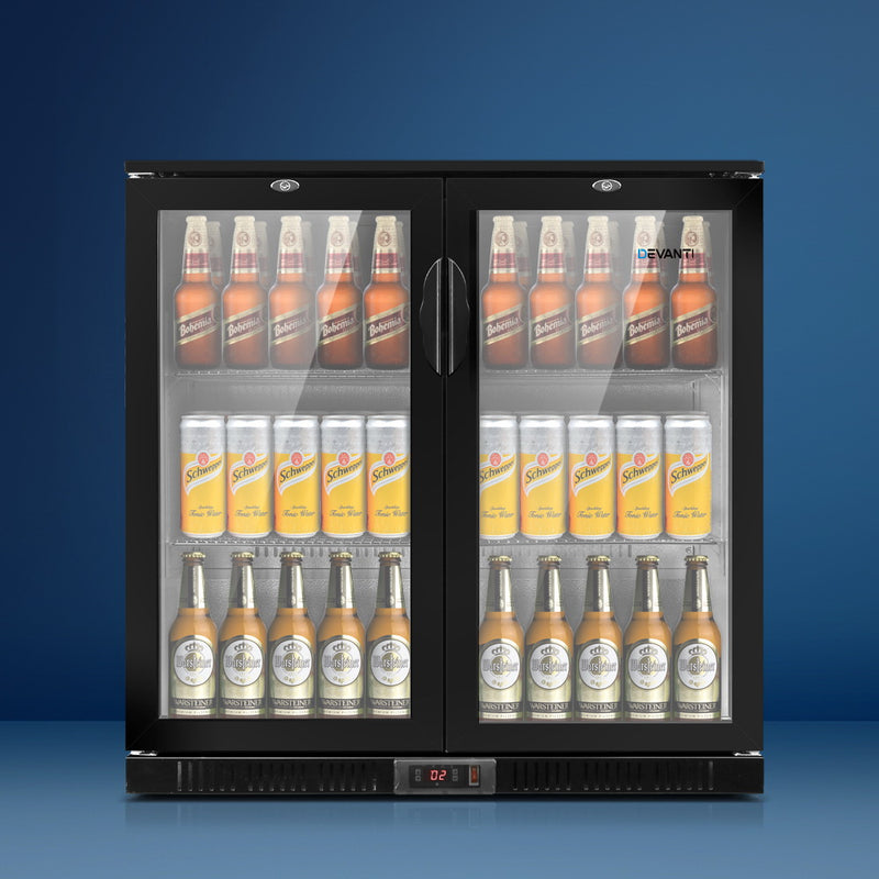 Devanti 2 Glass Door Bar Fridge - Black - Factory Direct Oz