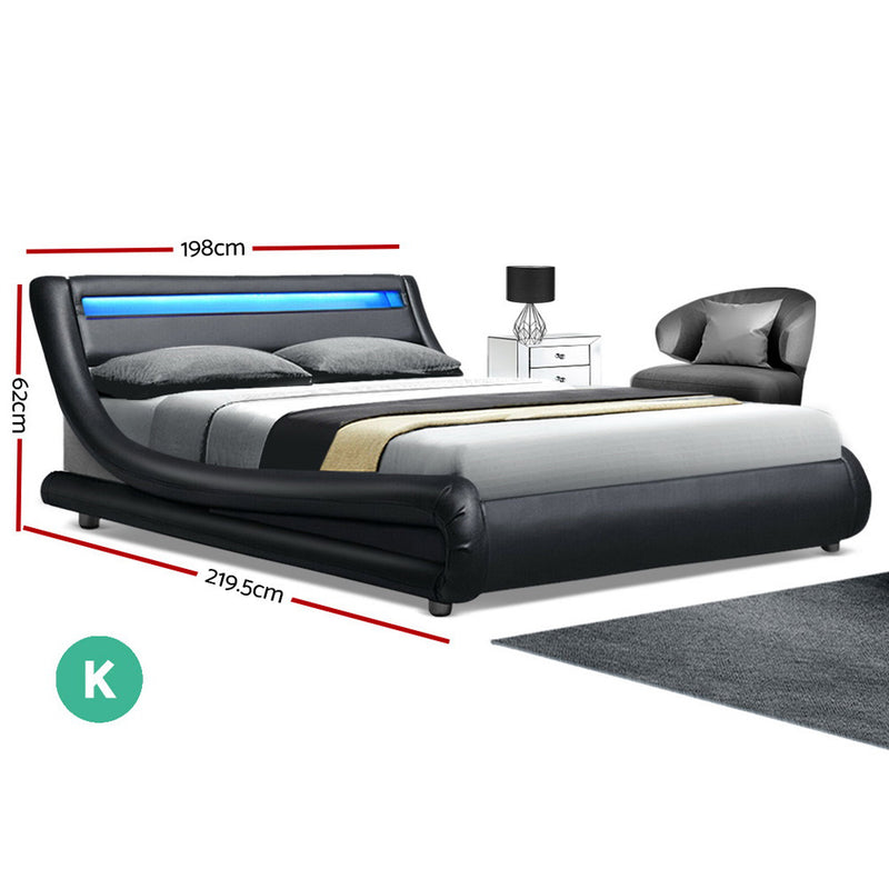 Artiss ALEX LED King Size Bed Frame - Black PU Leather - Factory Direct Oz
