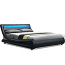 Artiss ALEX LED Queen Size Bed Frame - Black PU Leather - Factory Direct Oz
