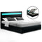 Artiss Cole LED Double Bed Frame - Black PU Leather - Factory Direct Oz