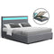 Artiss Double COLE Gas Lift Bed Frame With Storage - Grey Fabric - Factory Direct Oz