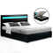 Artiss Cole LED King Size Bed Frame - Black PU Leather - Factory Direct Oz