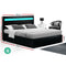 Artiss Cole LED Queen Size Gas Lift Bed Frame - Black PU Leather - Factory Direct Oz