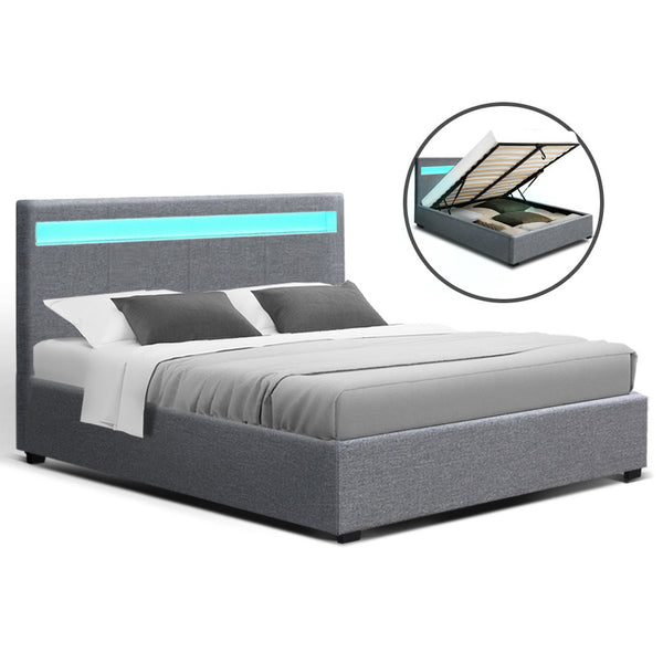 Artiss Queen Size COLE LED Gas Lift Bed Frame - Grey Fabric - Factory Direct Oz