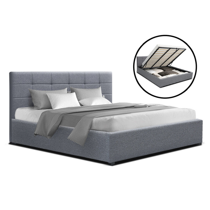 Artiss King Size LISA Gas Lift Bed Frame With Storage - Grey Fabric - Factory Direct Oz