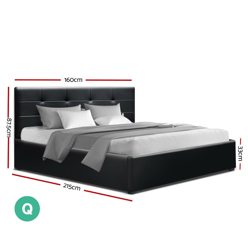 Artiss Queen Size LISA Gas Lift Bed Frame With Storage - Black PVC Leather - Factory Direct Oz