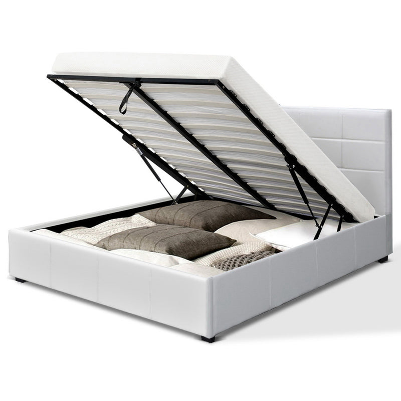 Artiss Queen Size LISA Gas Lift Bed Frame With Storage - White PVC Leather - Factory Direct Oz