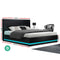 Artiss Lumi Double LED Bed Frame - Black PU Leather - Factory Direct Oz