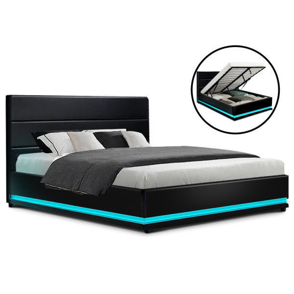 Artiss LUMI Queen LED Bed Frame - Black PU Leather - Factory Direct Oz