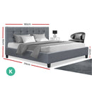 King Size Bed Base - Grey Fabric - Factory Direct Oz