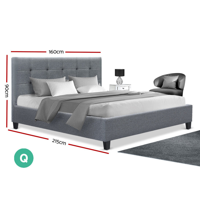 Queen Size Bed Base - Grey Fabric - Factory Direct Oz