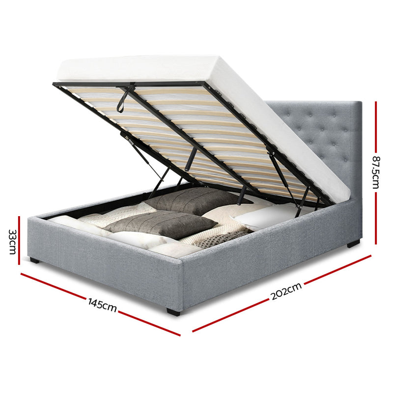 Double Gas Lift Bed Frame - Grey Fabric - Factory Direct Oz