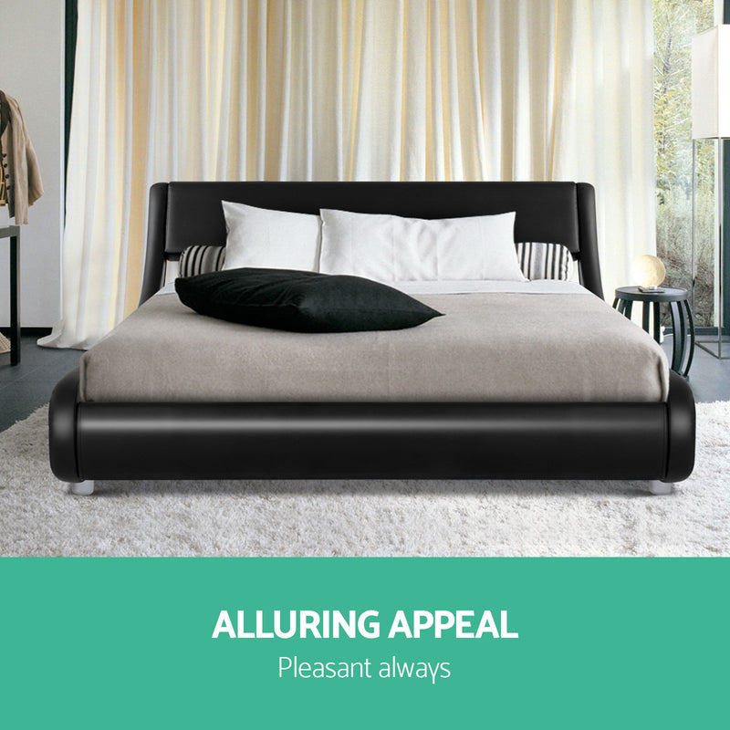 Artiss FLIO Double Bed Frame - Black PU Leather - Factory Direct Oz