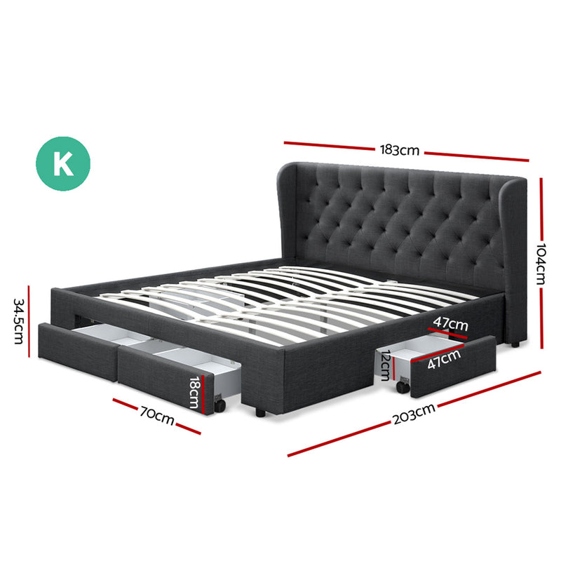 King Size Bed Base With Storage Drawer - Charcoal Fabric - Factory Direct Oz
