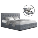 Artiss Double ROCA Gas Lift Bed Frame - Grey Fabric - Factory Direct Oz
