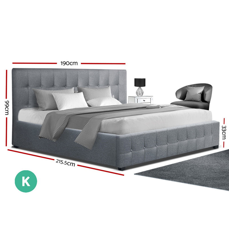 Artiss King Size ROCA Gas Lift Bed Frame - Grey Fabric - Factory Direct Oz