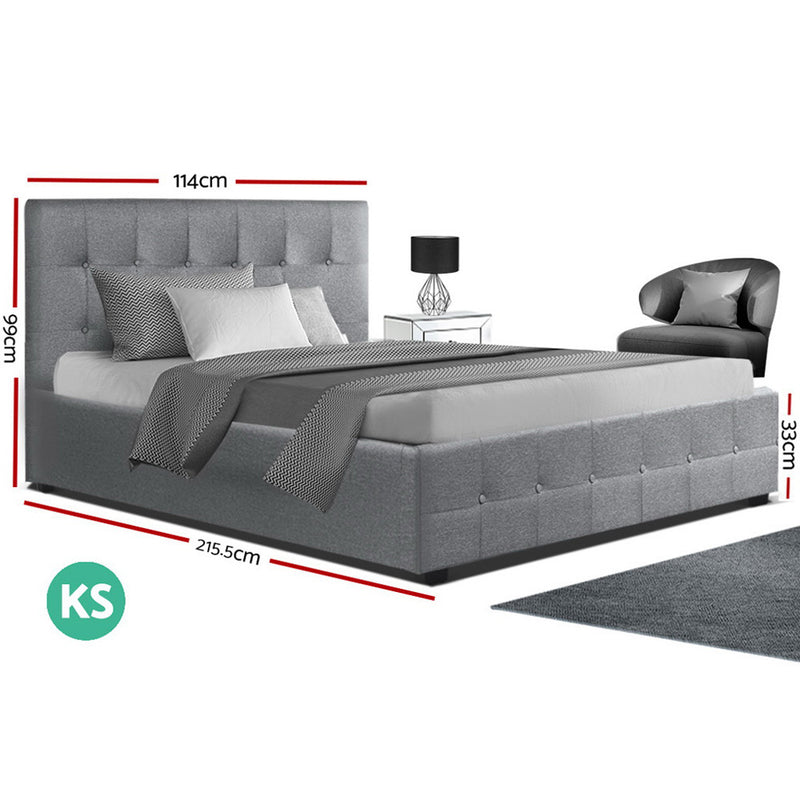 Artiss King Single ROCA Gas Lift Bed Frame - Grey Fabric - Factory Direct Oz