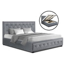 Artiss Queen Size TIYO Gas Lift Bed Frame - Grey Fabric - Factory Direct Oz