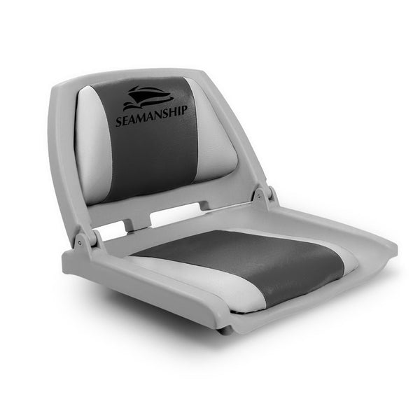 Seamanship Folding Swivel Boat Seat - Grey & Charcoal - Factory Direct Oz