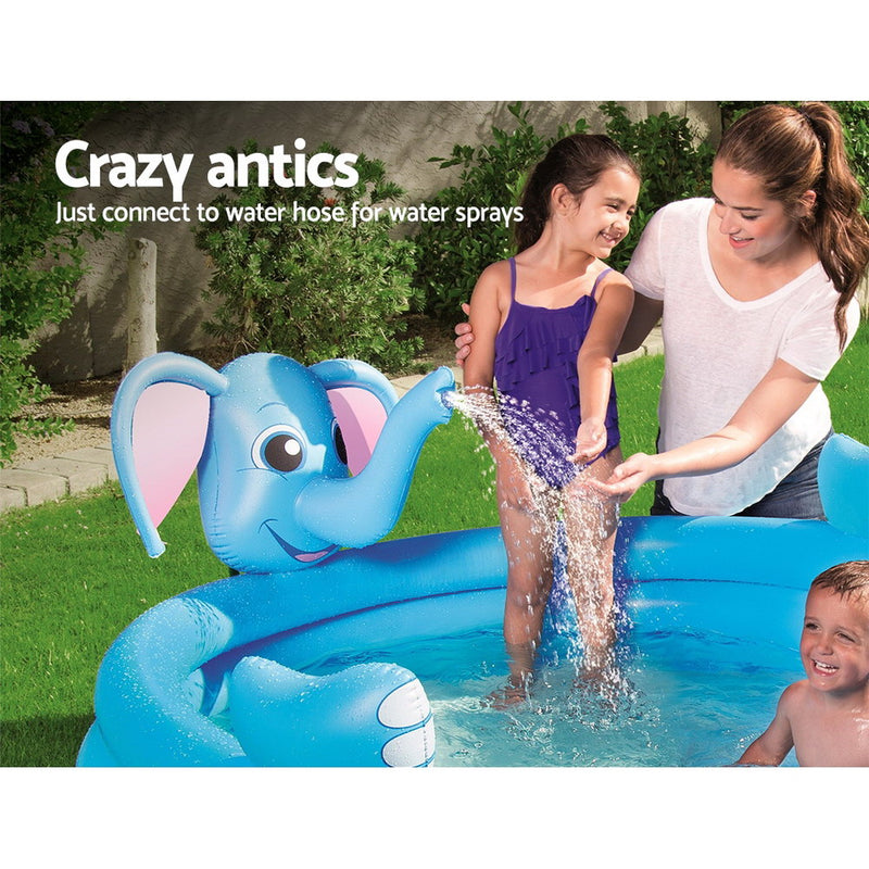 Bestway Inflatable 3 Ring Elephant Spray Splash Pool - Factory Direct Oz