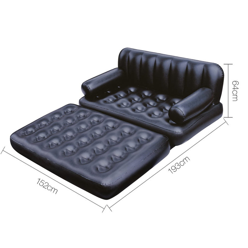 5 in 1 Inflatable Sofa Bed- Black - Factory Direct Oz