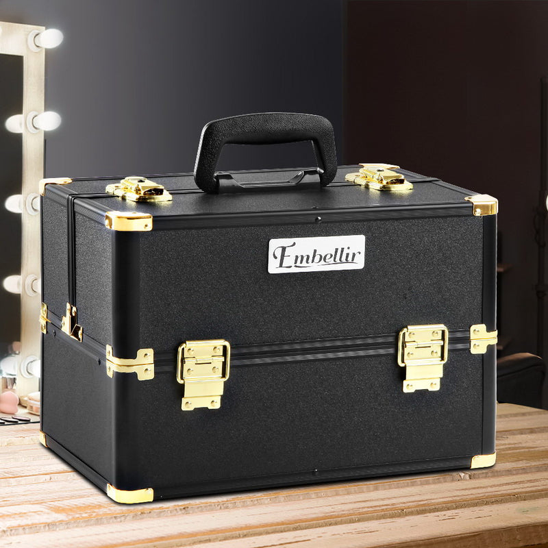 Embellir Portable Cosmetic Beauty Makeup Case - Black & Gold - Factory Direct Oz