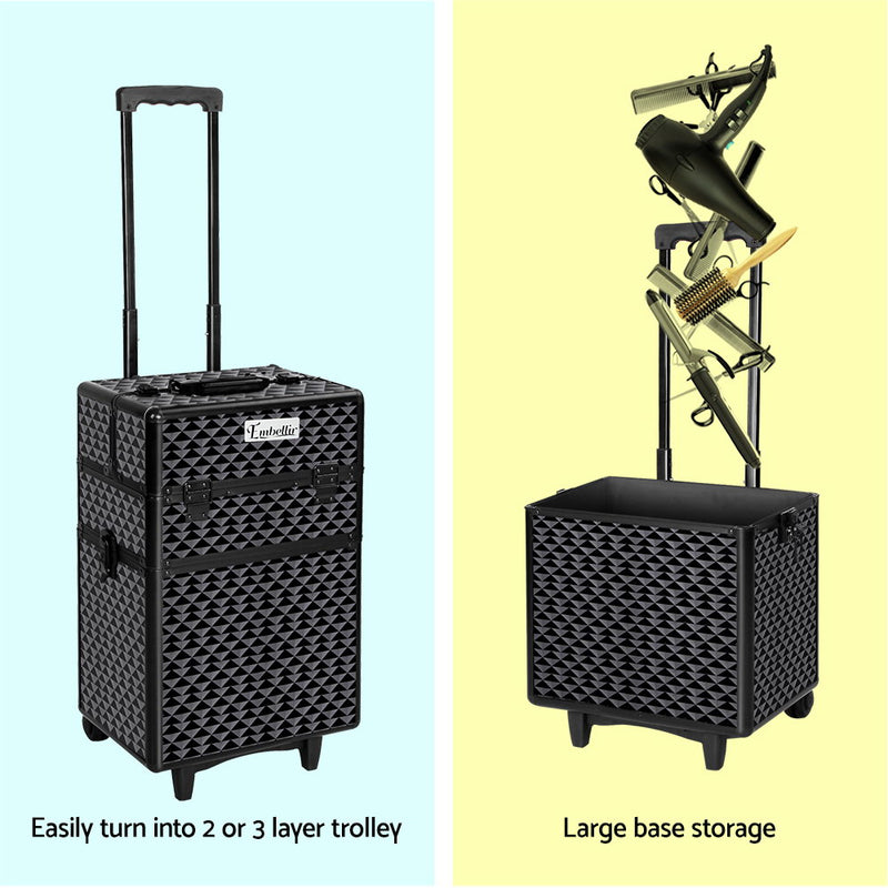 Embellir 7 in 1 Portable Cosmetic Beauty Makeup Trolley - Diamond Black - Factory Direct Oz