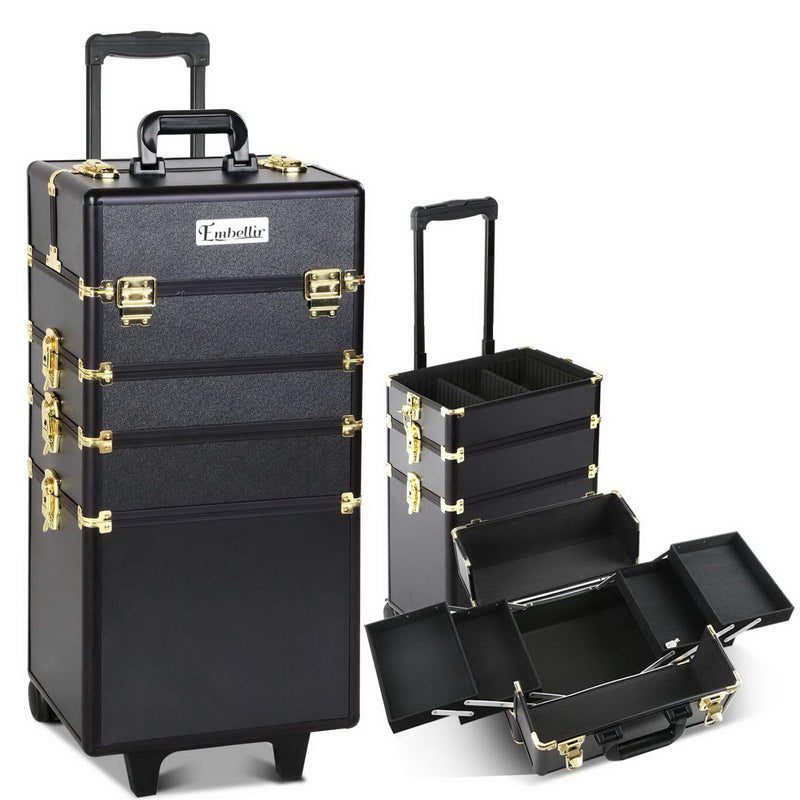 Embellir 7 in 1 Portable Cosmetic Beauty Makeup Trolley - Black & Gold - Factory Direct Oz