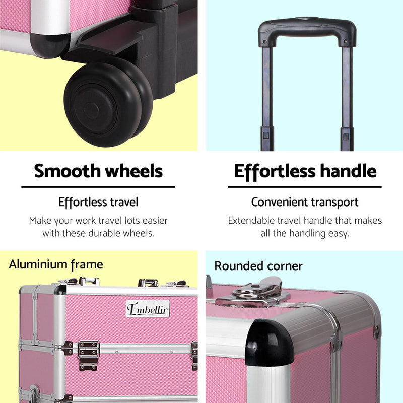 Embellir 7 in 1 Portable Cosmetic Beauty Makeup Trolley - Pink - Factory Direct Oz
