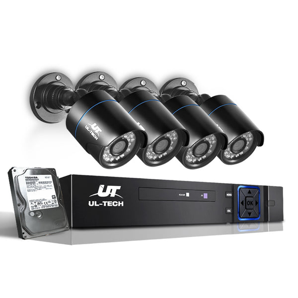 UL Tech 1080P 4 Channel HDMI CCTV Security Camera with 1TB Hard Drive - Factory Direct Oz