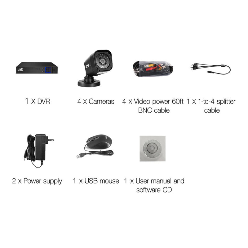8CH 5 IN 1 DVR CCTV Security System  /w 4 Cameras 1080P HDMI - Factory Direct Oz