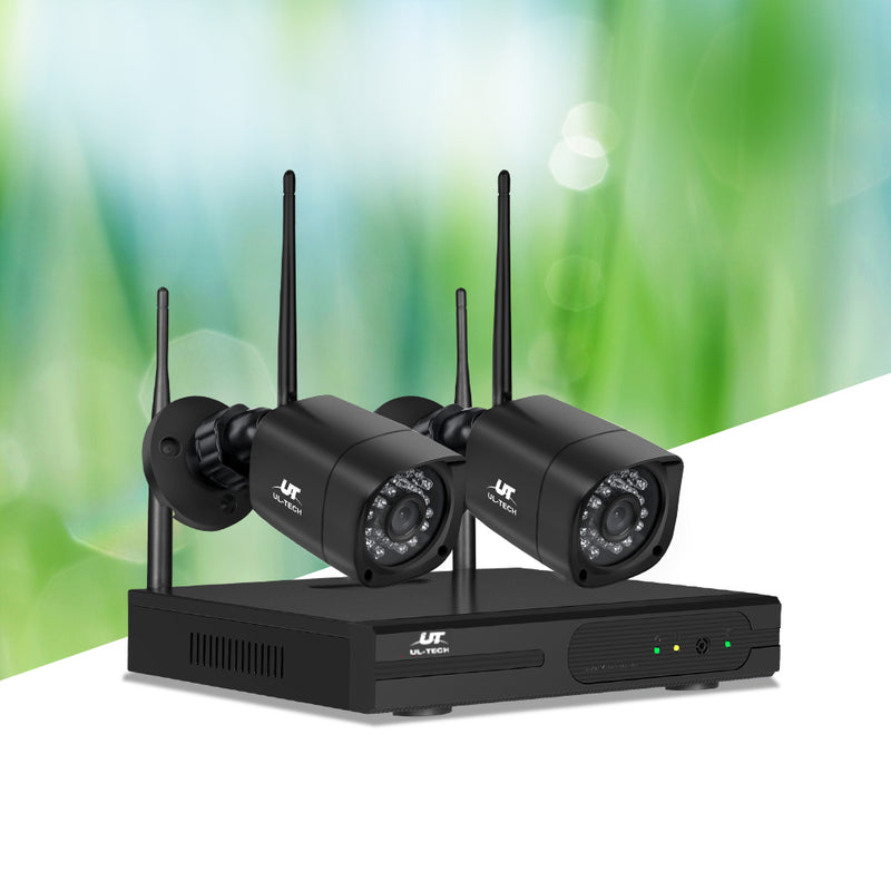 UL-TECH 1080P 4CH NVR Wireless 2 Security Cameras Set - Factory Direct Oz