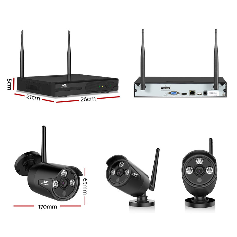2TB 4CH CCTV Wireless Security System w/ 4 x 1080P Cameras - Factory Direct Oz