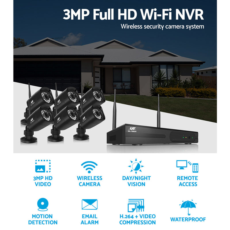 UL-TECH 1080P 8CH NVR Wireless 6 Security Cameras Set - Factory Direct Oz