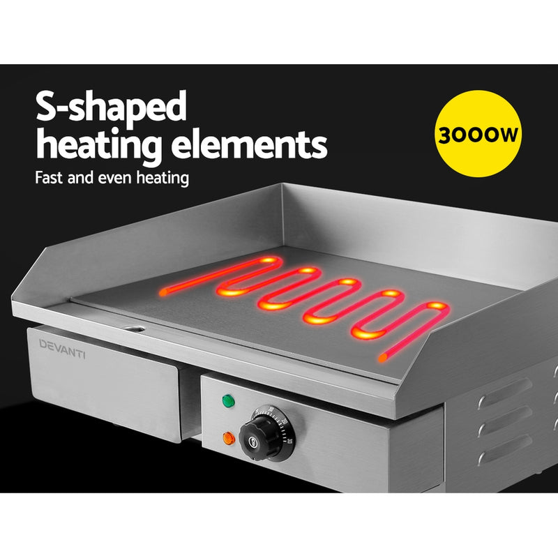 Devanti 3000W Electric Griddle Hot Plate - Stainless Steel - Factory Direct Oz