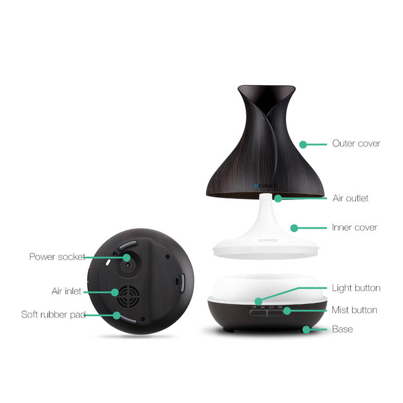 Devanti 400ml 4 in 1 Aroma Diffuser - Dark Wood - Factory Direct Oz