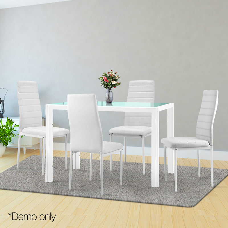 Artiss 5 Piece Dining Table Set - White - Factory Direct Oz