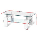 Artiss 2 Tier Tempered Glass Coffee Table - Factory Direct Oz