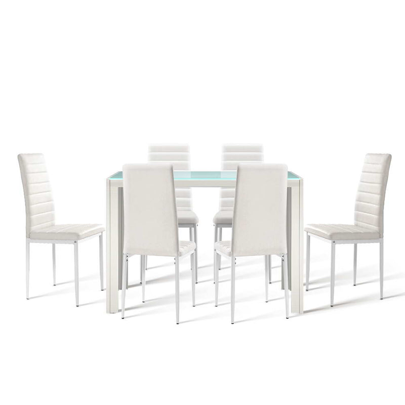 Artiss Astra 7-piece Tempered Glass Dining Table and Leather Chairs Set - Factory Direct Oz