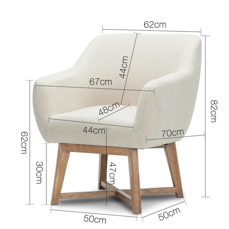 Artiss Fabric Tub Armchair - Beige - Factory Direct Oz