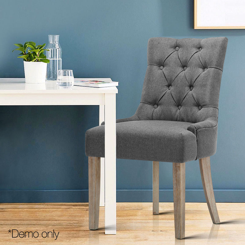 Artiss French Provincial Dining Chair - Grey - Factory Direct Oz