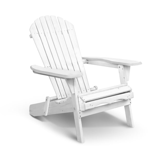 Gardeon Foldable Adirondack Beach Chair - White - Factory Direct Oz