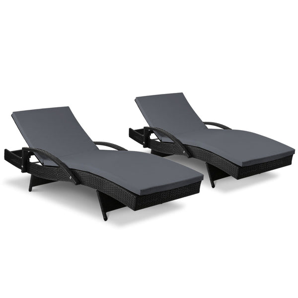 Gardeon 2 x Outdoor Sun Lounges with Cushion - Black - Factory Direct Oz