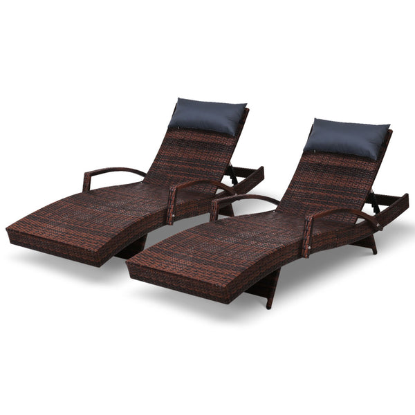 Gardeon Wicker Sun Lounge Setting - Brown - Factory Direct Oz