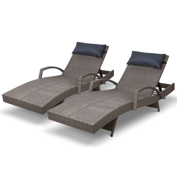 Gardeon Wicker Sun Lounge Setting - Grey - Factory Direct Oz