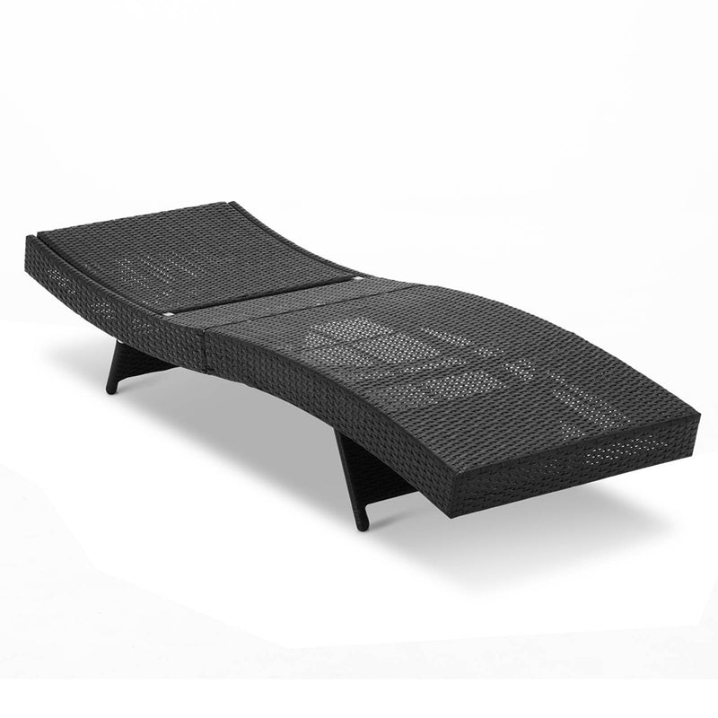 Set of 2 Outdoor Wicker Sun Lounges - Black - Factory Direct Oz